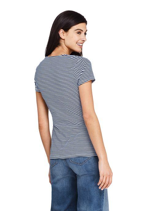 Women's Petite Short Sleeve V-Neck Stripe Twist Knot Top