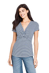 Women's Tall Short Sleeve V-Neck Stripe Twist Knot Top