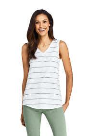 Women's Petite Stripe Slub Jersey V-neck Tank Top