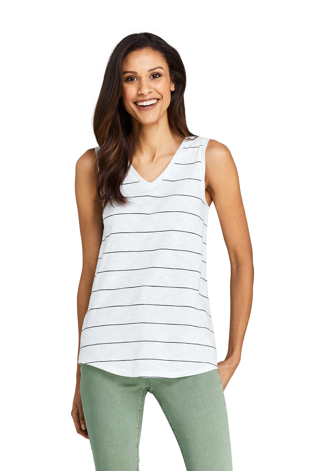 7013d88acef Women s Stripe Slub Jersey V-neck Tank Top from Lands  End