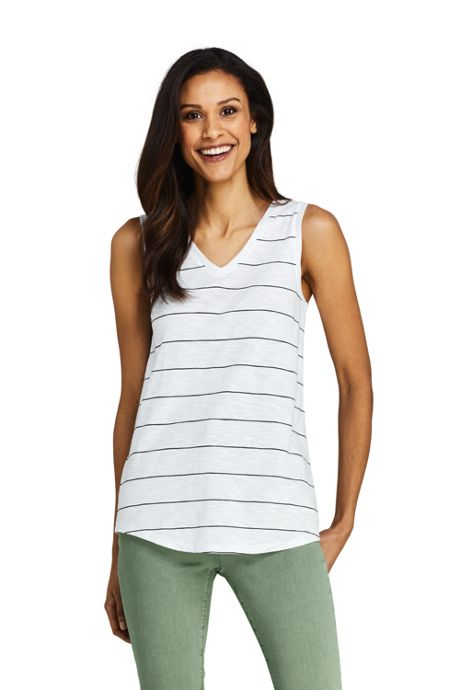 Women's Stripe Slub Jersey V-neck Tank Top
