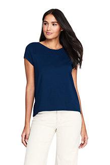 T-Shirt en Jersey Stretch et Dentelle, Femme