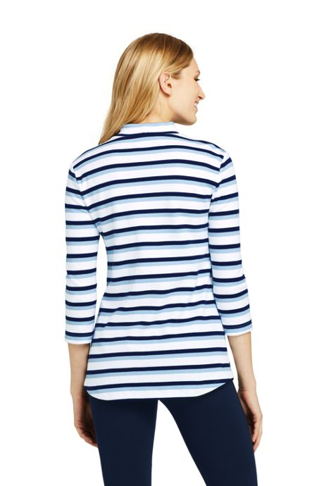 Women's Petite 3/4 Sleeve Stripe Mock Tunic