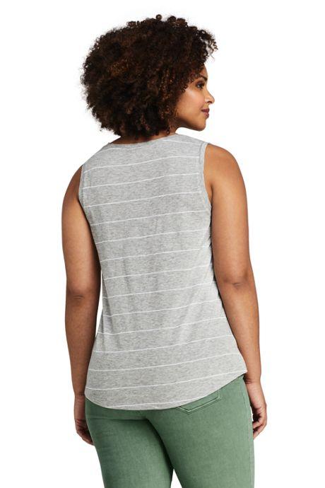 Women's Plus Size Stripe Slub Jersey V-neck Tank Top