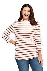 f194a6bf4b1e2 Women s Plus Size 3 4 Sleeve Stripe Mock Tunic