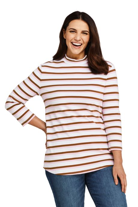 Women's Plus Size 3/4 Sleeve Stripe Mock Tunic