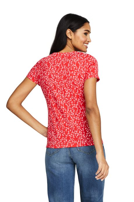 Women's Tall Print Short Sleeve V-Neck Twist Knot Top
