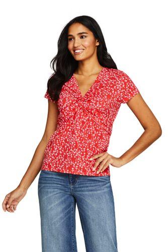 Gemustertes Shirt mit V-Ausschnitt aus Baumwoll/Modalmix für Damen