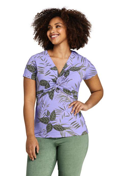 Women's Plus Size Print Short Sleeve V-Neck Twist Knot Top