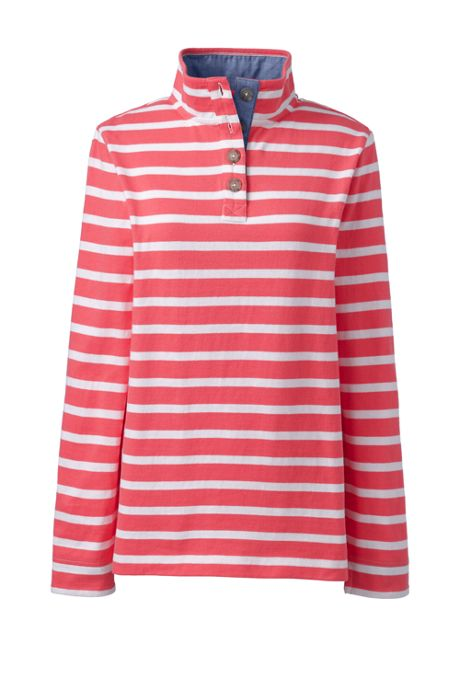 Womens Heritage Jersey Stripe Long Sleeve Quarter Placket Pullover