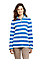 Women's Petite Breton Stripe Button Polo Neck Top