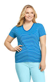Women's Plus Size Stripe All Cotton Short Sleeve T-shirt Rib Knit V-neck