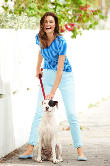 Women's Petite Stripe All Cotton Short Sleeve T-shirt Rib Knit V-neck