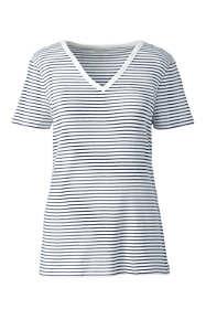Women's Plus Size Stripe All Cotton Short Sleeve T-shirt Rib Knit V-neck