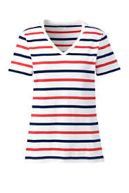 Women's Tall Stripe All Cotton Short Sleeve T-shirt Rib Knit V-neck