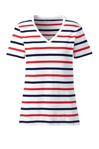 Women's Cotton Rib V-Neck Stripe T-shirt
