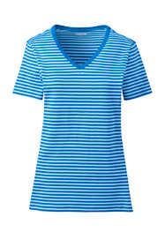 Women's Petite Stripe All Cotton Short Sleeve T-shirt Rib Knit V-neck