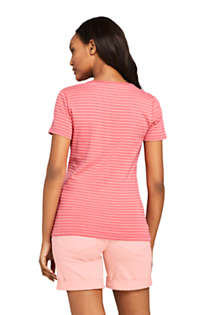 Women's Stripe All Cotton Short Sleeve T-shirt Rib Knit V-neck, Back