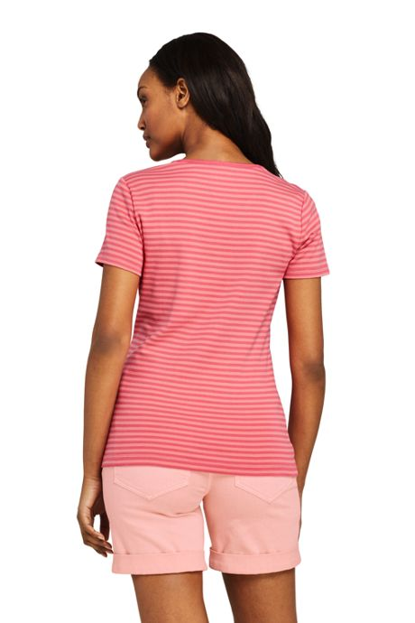 Women's Stripe All Cotton Short Sleeve T-shirt Rib Knit V-neck