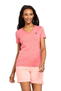 Women's Stripe All Cotton Short Sleeve T-shirt Rib Knit V-neck, Front