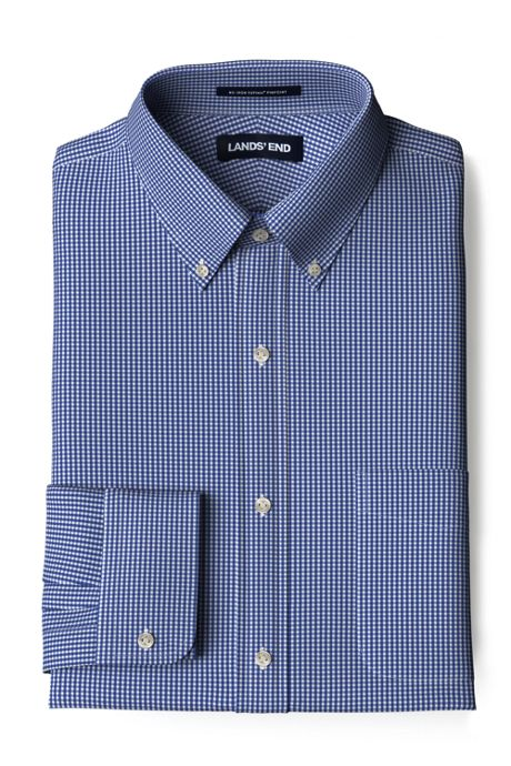 Men's Traditional Fit Pattern No Iron Supima Pinpoint Comfort Collar Shirt