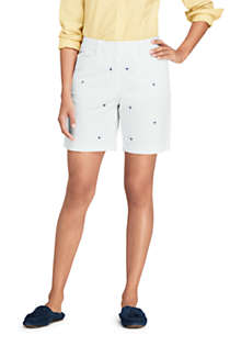 "Women's Petite Mid Rise 7"" Chino Shorts - Sailboats, Front"