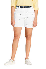 "Women's Plus Size Mid Rise 7"" Chino Shorts - Sailboats"