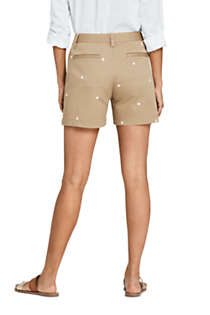 "Women's Petite Mid Rise 5"" Chino Shorts - Embroidered, Back"