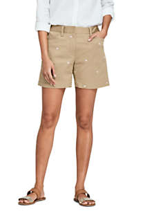 "Women's Petite Mid Rise 5"" Chino Shorts - Embroidered, Front"