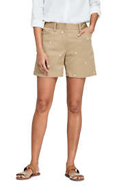 "Women's Petite Mid Rise 5"" Chino Shorts - Embroidered"