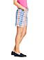 Short Chino Stretch Madras Taille Mi-Haute, Femme Stature Standard
