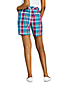 Short Chino Stretch Madras Taille Mi-Haute, Femme Stature Standard