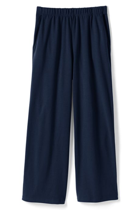 Women's Petite Sport Knit Wide Leg Crop Pants
