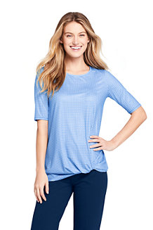 T-Shirt Long Imprimé Active Wear Ourlet Noué, Femme