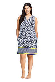94b01232ac7 Women s Plus Size Cotton Jersey Sleeveless Tunic Dress Swim Cover-up Print