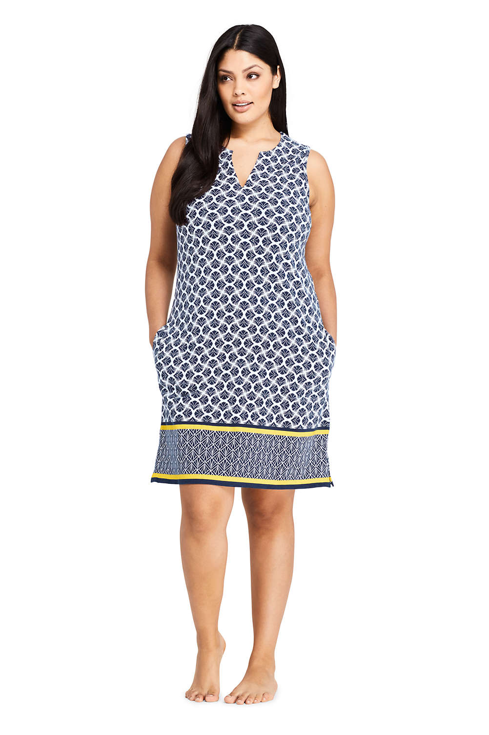 ffb6a65abf Women's Plus Size Cotton Jersey Sleeveless Swim Cover-up Dress Print from  Lands' End