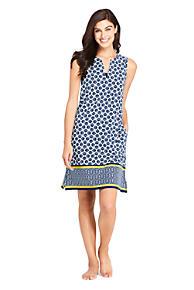 fea372ad00ed1 Women s Cotton Jersey Sleeveless Tunic Dress Swim Cover-up Print