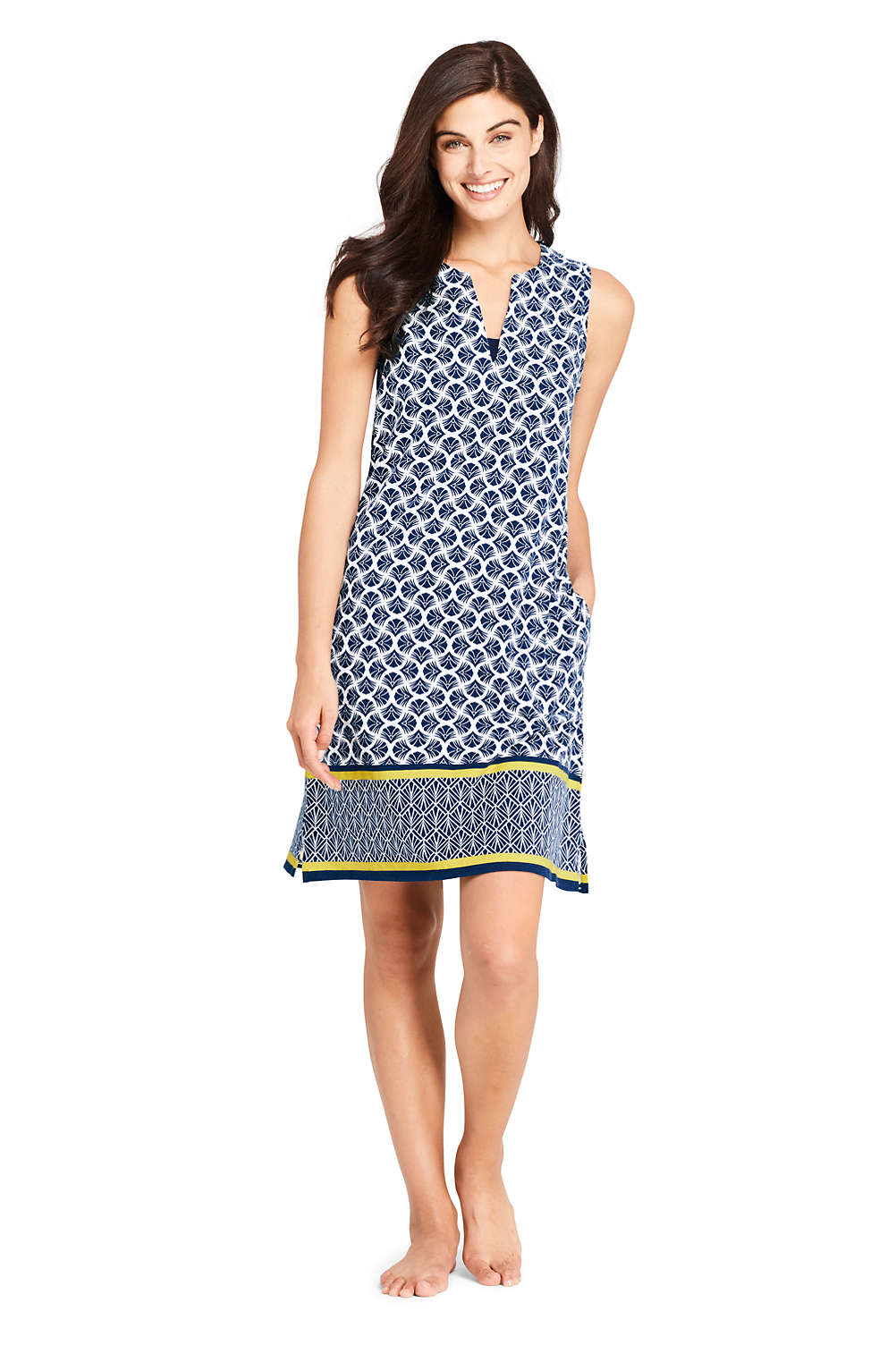 8d10397bef Women s Cotton Jersey Sleeveless Tunic Dress Swim Cover-up Print from Lands   End