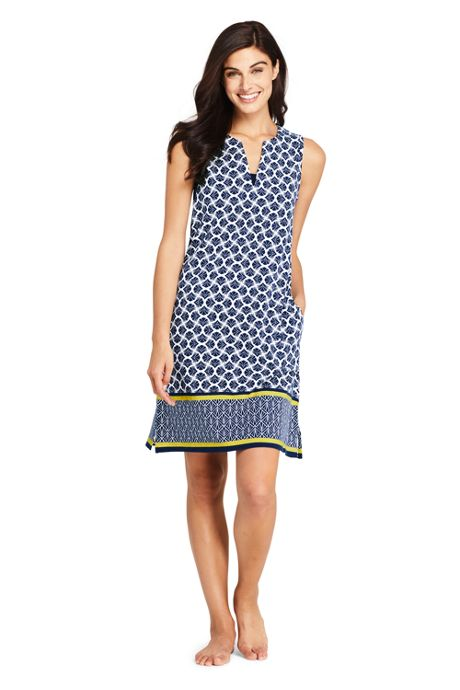 Women's Long Cotton Jersey Sleeveless Tunic Dress Swim Cover-up Print