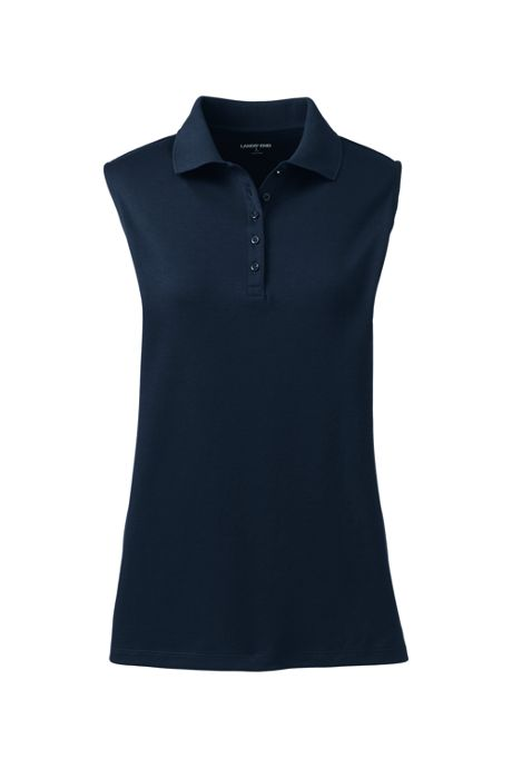 Women's Tall Sleeveless Supima Cotton Polo Shirt