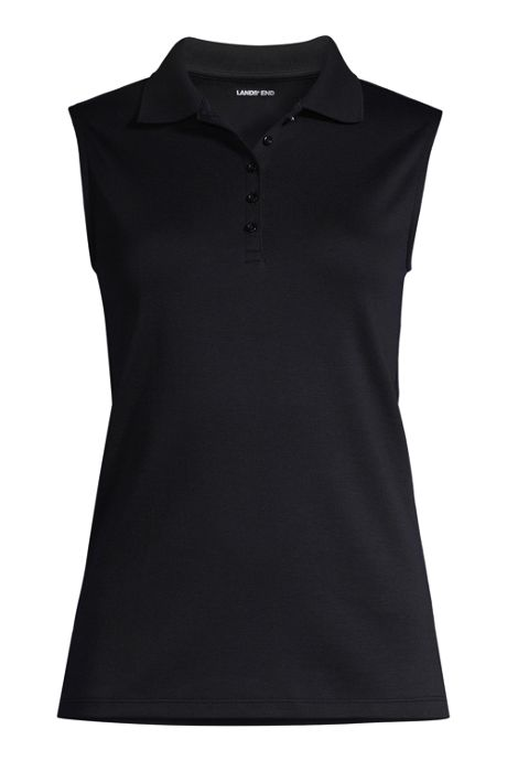 Women's Petite Sleeveless Supima Cotton Polo Shirt