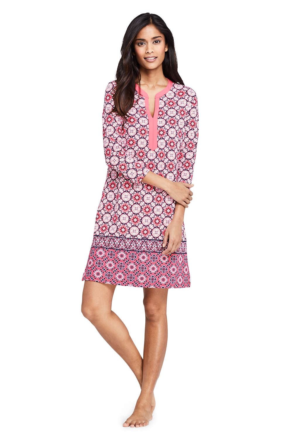 44f8122524 Women's Swim Cover-up Tunic Dress with UV Protection Print from Lands' End