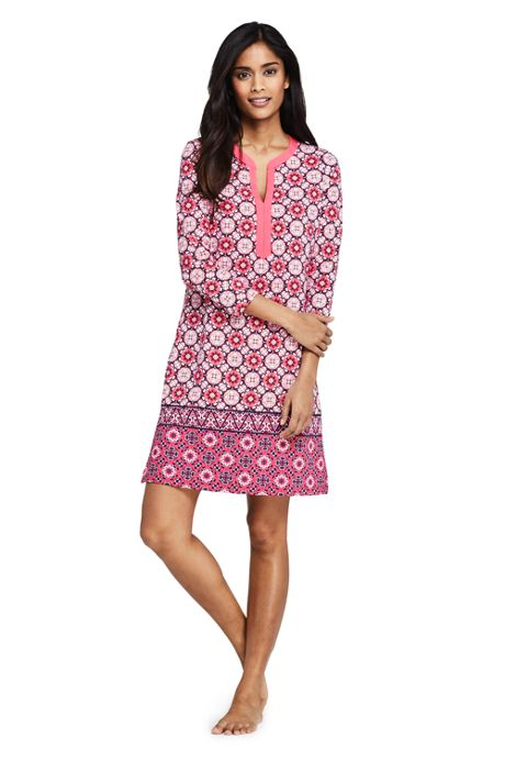 Women's Swim Cover-up Tunic Dress with UV Protection Print