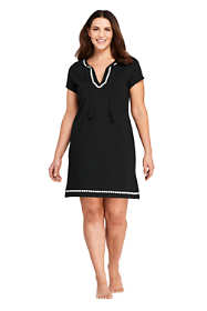 Women's Plus Size Embroidered Swim Cover-up Notch Neck Dress with UV Protection
