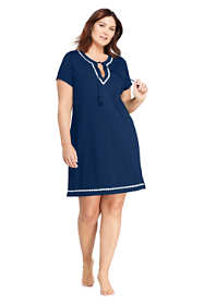 Women's Plus Size Embroidered V-neck Short Sleeve with UV Protection Swim Cover-up Dress
