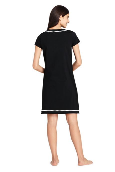 Women's Petite Embroidered Swim Cover-up Notch Neck Dress with UV Protection