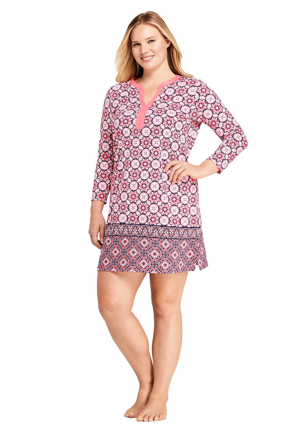 Women\'s Plus Size Swim Cover-up Tunic Dress with UV Protection Print ...