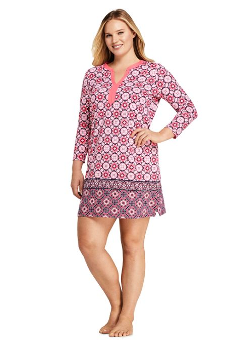Women's Plus Size Swim Cover-up Tunic Dress with UV Protection Print