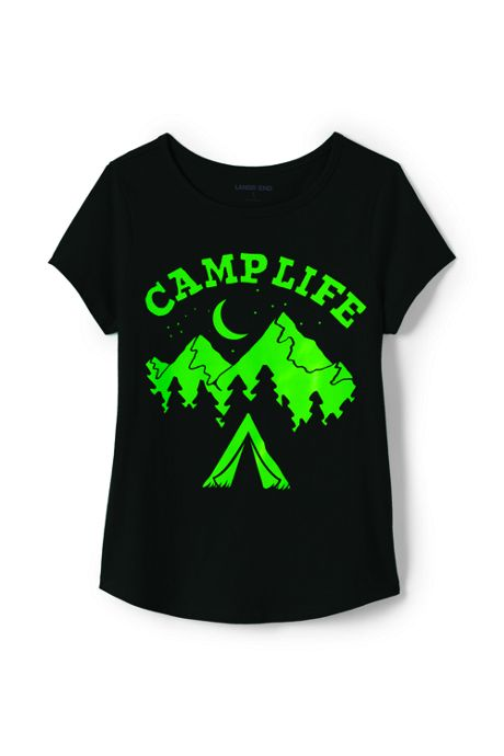 Little Girls Glow in the Dark Graphic Tee Shirt