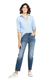 Women's Petite Oxford Boyfriend Embroidery Shirt, Unknown